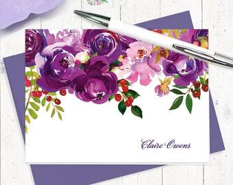 papeterie personnalisée ensemble - fleurs violet aquarelle pivoines - ensemble de 8 cartes pliées - ensemble cadeau papeterie personnalisée