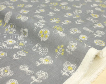 Japanese Fabric Kokka Trefle Ohana double gauze - grey, yellow - 50cm