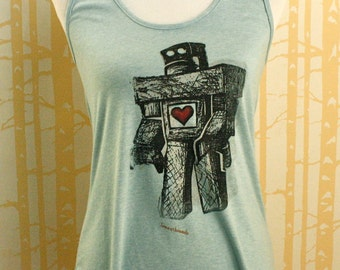 Lonely Robot Tank in 100% recycled poly/cotton, choose your size and color, made in USA