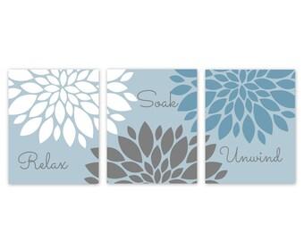 Bathroom Wall Decor, Relax Soak Unwind, Blue Bathroom Decor, Bathroom Art, Bathroom Wall Art, Home Decor, Blue Grey White
