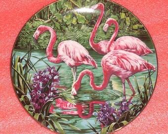 1981 Limited Edition Konrad Hack Rosy Flamingos Collector Plate with Hanger