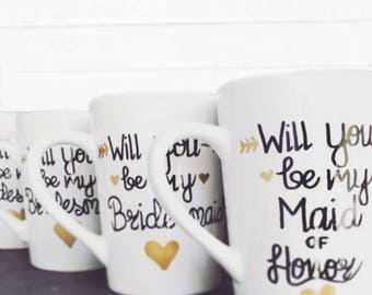 Gold and Black Will You be my Bridesmaid Coffee Mugs - Bridesmaid Gifts - Maid of Honor Gifts.