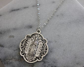 Silver Medallion Necklace - Mother Mary Necklace - Religious Pendant - Statement Necklace - Silver Pendant - Layered Necklace Set