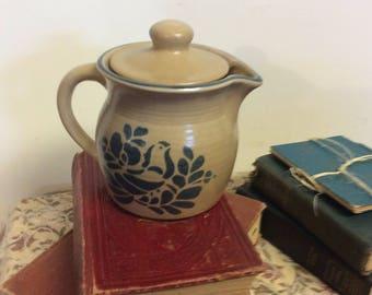 Vintage Pfaltzgraffe Teapot Blue Pottery Stoneware Collectible