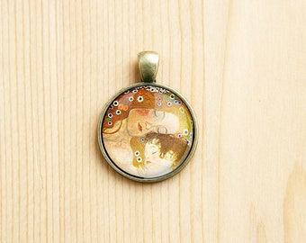 Gustav Klimt Mother and Child round pendant painting charm art artist family love