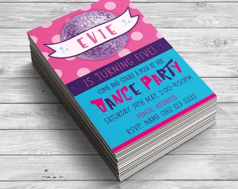 Dance Party Invitation, Girls Party, Dance Invites, Girls Birthday Invitations, Girly Invitations, Disco Ball, Disco Party Invitations