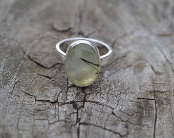 Prehnite Sterling Silver Ring Ready to Ship Size 6 1/4