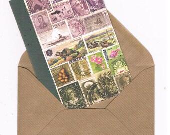 Heather Landscape Card | Lavender Moss Any Occasion NoteCard, Blank Inside | Vintage Postage Stamps Collage Art Card - penpal, letter writer