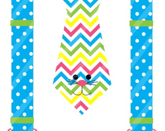 Easter Bunny Chevron Tie with Dotted Suspenders Digital Download for iron-ons,heat transfers, T-Shirts, Onesies, Bibs, Aprons, DIY YOU PRINT