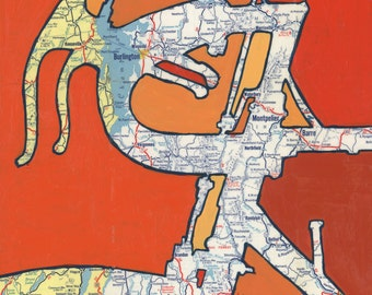Vermont - small print -featuring Burlington, Montpelier, Barre, Rutland, Warren, Green Mountains-vintage bicycle art