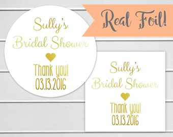 Foiled Bridal Shower Favor Stickers, Color Foil Bridal Shower Stickers, Bridal Shower Wedding Labels (#006-F)