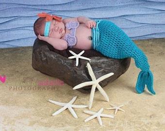 0 to 3 month Turquoise Mermaid Baby Costume, Newborn Mermaid Photo Prop Set
