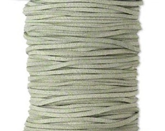 Faux Suede Leather Cord Lace Olive Green Soft Cotton 3mm wide for necklaces and bracelets, 10 or 25 ft.