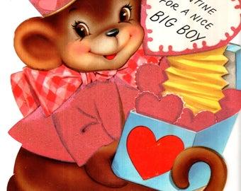 "Monkey Holding Box Die-Cut Vintage Fuzzy Valentine's Day Card 8.5"" Used"