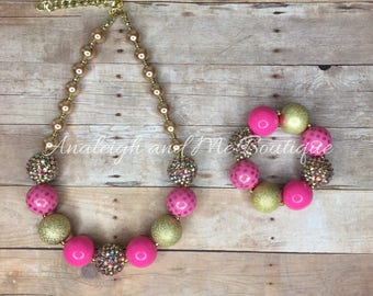 Pink and Gold Chunky Necklace, Girls Pink and Gold Necklace, Toddler Necklace, Chunky Bead Necklace, Pink and Gold,  Pink and Gold