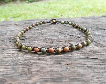 Unakite Beaded Wrap Chain Anklet - Pink-Green Stone Woven Anklet - Gypsy Beaded Anklet