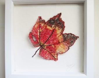 textile art, autumn leaf, embroidered art, maple leaf