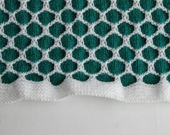 Green and White Honeycomb Afghan