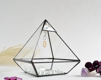 """Glass Box, Pyramid Display Box, 6"""" x 6"""" x 7 1/2"""" Jewelry Box, Pyramid with glass crystal and beveled glass triangle. Made To Order"""