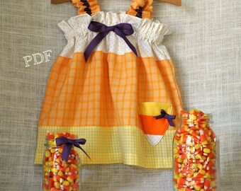 Halloween - Candy Girl Candy Corn Dress - Baby Toddler Girls Easy PDF Dress Pattern Sizes 0-3, 3-6, 6-12, 18 months, 2, 3, 4, 5, 6, 7, 8