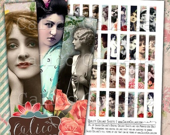 Beauty in Roses, Collage Sheets, Half Domino Size, Burlesque Ladies, Printable Ephemera, Digital Collage, Digital Download