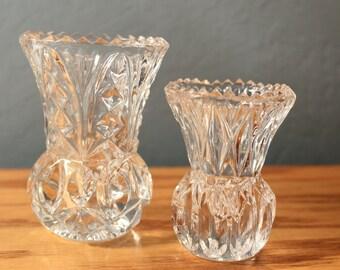 Set of 2 Vintage Toothpick Holders Crystal