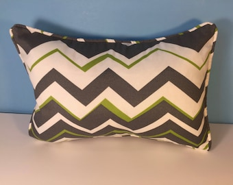 """12x18"""" OUTDOOR Corded Pillow Cover - Lime Green and Gray Chevron"""