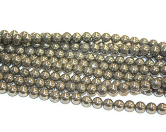 6mm Pyrite Fool's Gold Natural High Quality 16 Inch Strands, 64 beads
