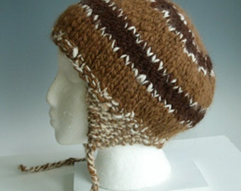ALPINE  Men, Women, girls, boys  100% ALPACA  unisex earflap hat  handspun, hand knit in browns and white accent with ties