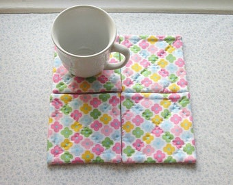 spring flowers hand quilted set of mug rugs coasters