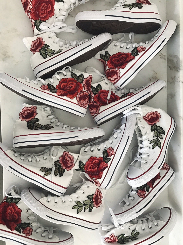 Description. Gorgeous Rose embroidered high top converse.