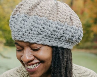 The Yodit Tam/Chunky Winter Beret/Pom-Pom Hat/Chunky Crochet Hat/Crochet Beret/Gray, Cream & Taupe Beret