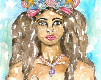 Goddess Art Yemaya Ocean Goddess Print Pagan Fantasy Art Mother Goddess Divine Feminine Spiritual Art Pagan Altar Mythological Art Altar Art