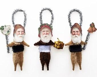 Old World Primitive Ornaments - Christmas Chenille Santa Ornaments - Under 25