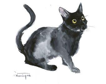 Black Cat, Original watercolor painting, animal art, cat lover art, black and white