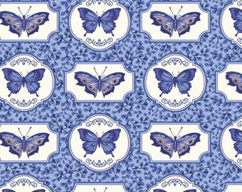 1 Yard Botanical Blues Butterfly Fabric Quilting Cotton Northcott