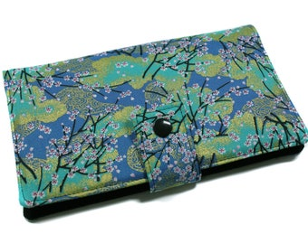 checkbook wallet cards fabric Japanese cherry blossoms