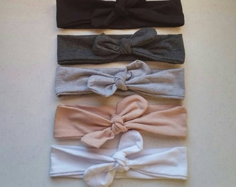 Solid Color · Top Knot Headband / Neutrals / Adjustable Headband / Head Wrap / Infant Headband / Top Knot / Baby Style / Adult Headband