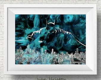 Batman Gotham Watercolor Print, watercolor painting, watercolor art, Batman art, Batman print, Super hero art, movie poster, Batman Abstract