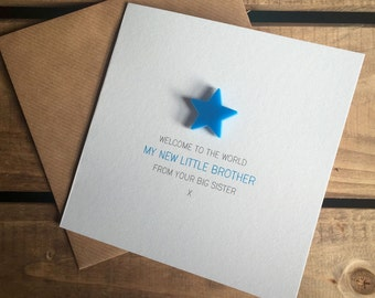 Welcome to the World: My New Little Brother from your Big Sister Card with detachable magnet keepsake