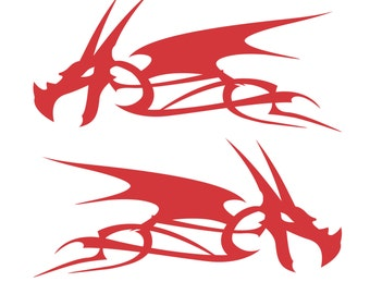 Dragon Head Flame Vinyl Decal Stickers Motorcycle Gas Tank Badge - Select Color