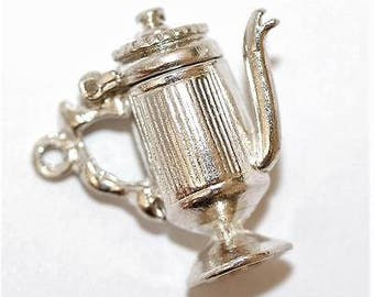 Vintage Sterling Silver Bracelet Charm Opening Teapot Coffeepot (4.4g)