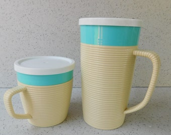 Pair of Thermo-Temp Raffiaware Mugs with Lids, Cups, 1 Tall and 1 Standard, Aqua, Turquoise, Camper, Camping, RV, Mid Century Kitchen