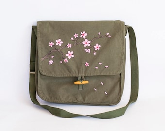 Cherry Blossom Messenger Bag, Vintage Upcycled Hand Painted Army Bag, Green Cotton Bag, Army Surplus