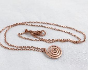 Copper Spiral Necklace - Small Koru Spiral - Hammer Formed - Subtle Hammered Texture  - Solid Copper