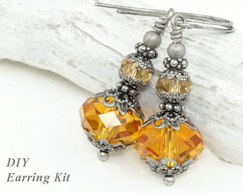 DIY EARRING KIT - Vintage Inspired Antique Silver Earrings with Warm Amber Topaz Beads Do It Yourself Fall Jewelry Autumn Earrings Crystal
