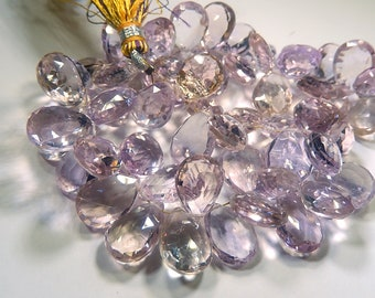 AAA Ametrine Gemstone.  Faceted Pear Briolette. 11-14mm. Semi Precious Gemstone Briolette. (o6amt1)