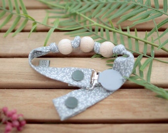 Chupetero-Wooden Baby Teether | Greenish Grey & Leaves