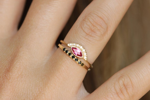 Spinel Engagement Ring Pink Spinel Ring Black Diamond