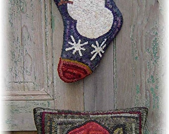 Instant Download E-Pattern Christmas Santa Pillow and Stocking Hooked Rug or Wool Applique Christmas Decor